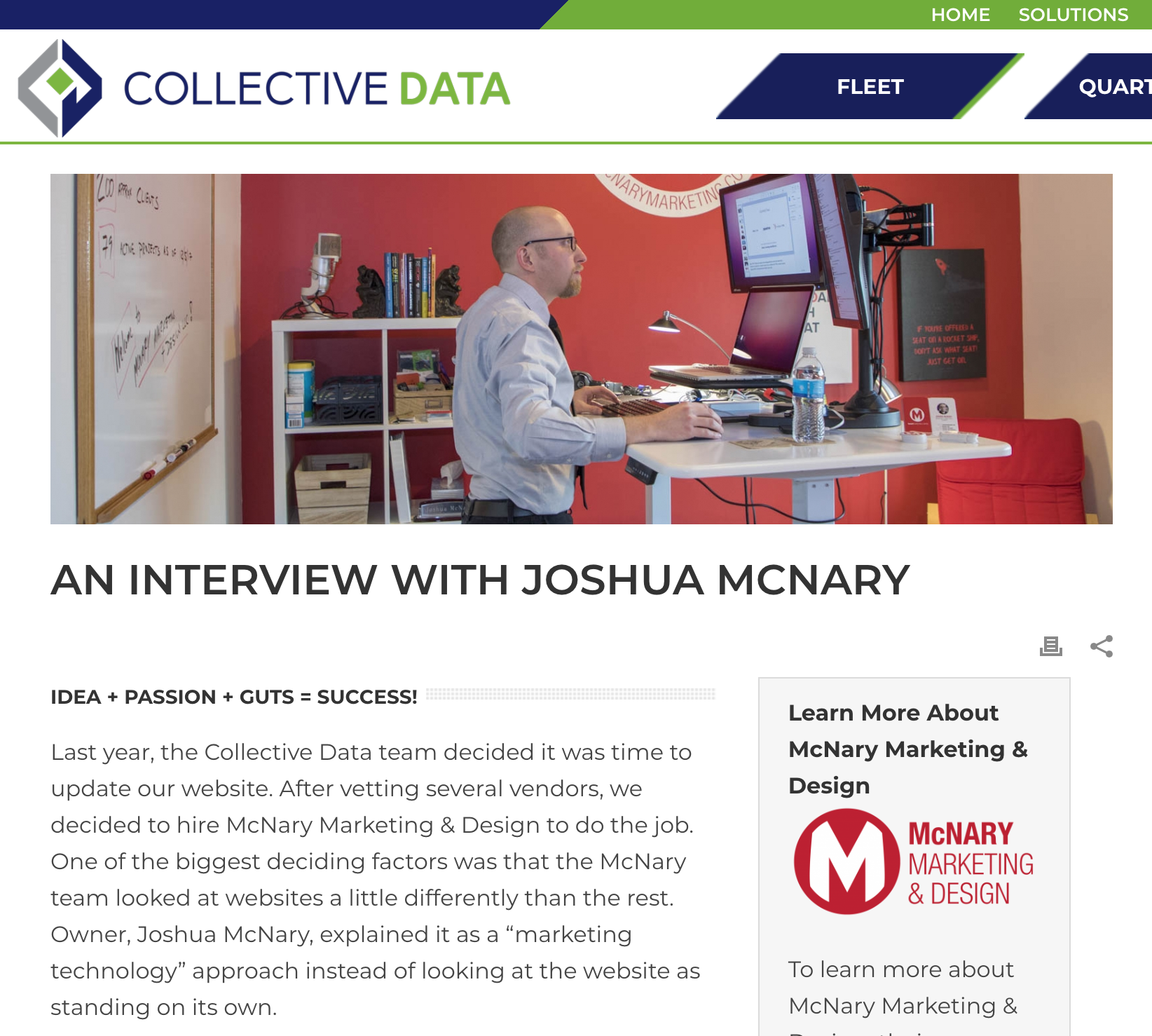 CollectiveData was generous to write a piece on their bog about their experience with McNary Marketing & Design.