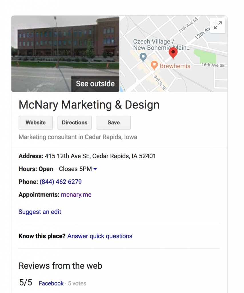 Google my Business MMD's profile