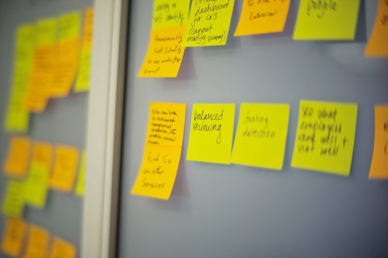 yellow and gold sticky notes on a wall